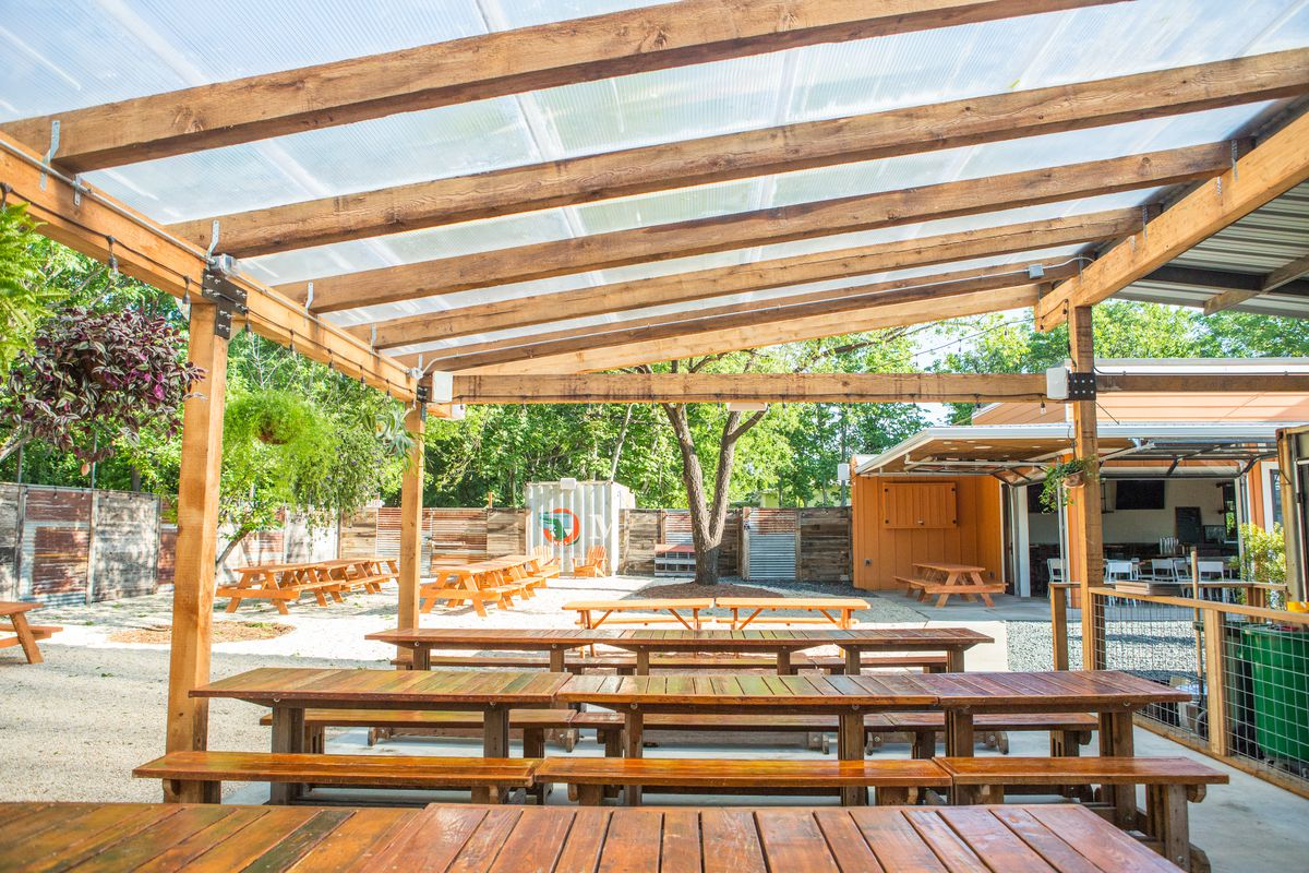 The covered patio at Sour Duck