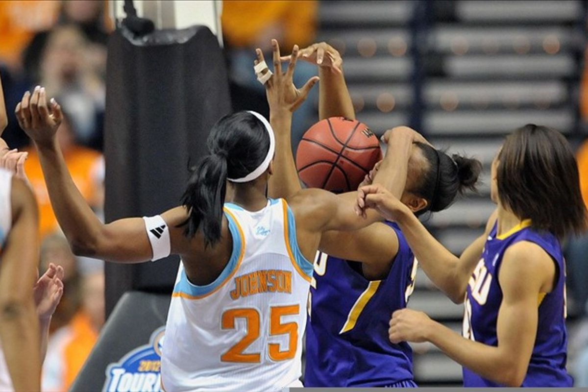 Mar 4, 2012; Nashville,TN, USA; Glory Johnson asserts her dominance over all within her realm. (Mandatory Credit: Jim Brown-US PRESSWIRE)