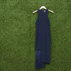 Nomia fringe section halter dress, $595