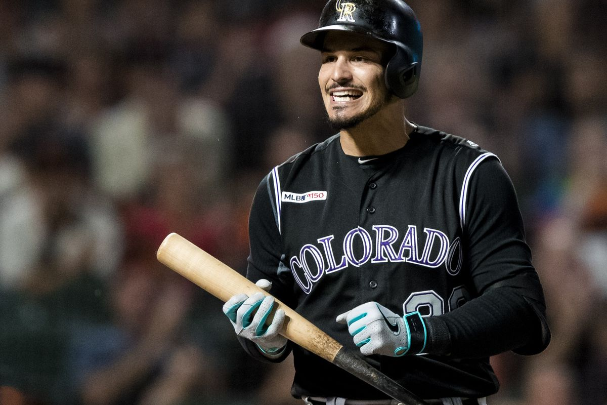 Colorado Rockies third baseman Nolan Arenado reacts after striking out against the San Francisco Giants in the third inning at Oracle Park.