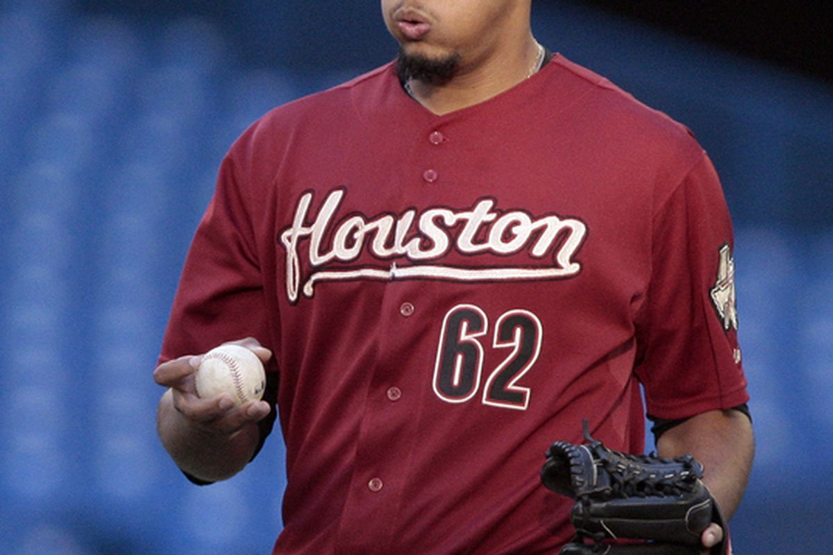 : Aneury Rodriguez of the Houston Astros. (Photo by Abelimages/Getty Images)