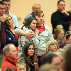 Crowd members listen as Ohio Gov. John Kasich speaks to a group gathered at the Grande Ballroom in a Town Hall meeting at UVU Friday, March 18, 2016.
