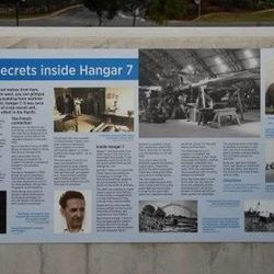 Plaque at Eagle Farm airfield near Brisbane, Australia describing work Clyde Gessel and other soldiers did to reconstruct Japanese Zeros during World War II.