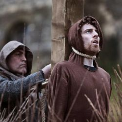 """William Tyndale prepares to die at the stake. More than 80 percent of the King James Bible, printed in 1611, can be attributed to British religious scholar William Tyndale. His story is featured in """"Fires of Faith: The Coming Forth of the King James Bible"""" on BYUtv."""