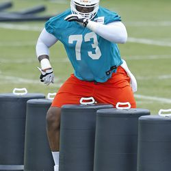 DAVIE, FL - MAY 23: Kamal Johnson #73 of the Miami Dolphins participates in drills during the rookie minicamp on May 23, 2014 at the Miami Dolphins training facility in Davie, Florida.