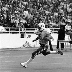 Brigham Young quarterback Steve Young (8) is shown during BYU game against Baylor as the first period ends, Sept. 10, 1983, in Waco, Texas.  (AP Photo/David Breslauer)