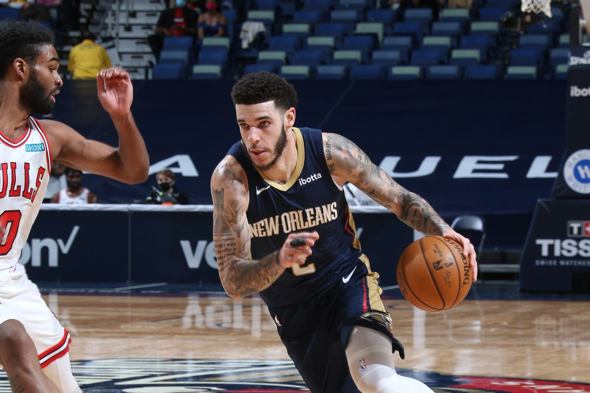 Lonzo Ball #2 of the New Orleans Pelicans dribbles the ball during the game against the Chicago Bulls on March 3, 2021 at the Smoothie King Center in New Orleans, Louisiana.