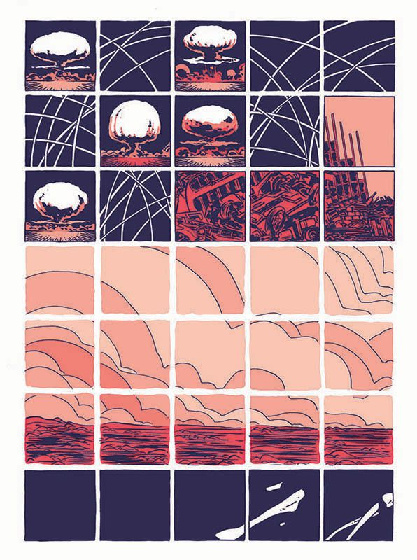 Rocket arcs and mushroom clouds give way to city ruins, blasted fields, and dry bones, on a grid of small square panels, in Hedra, Image Comics (2020).