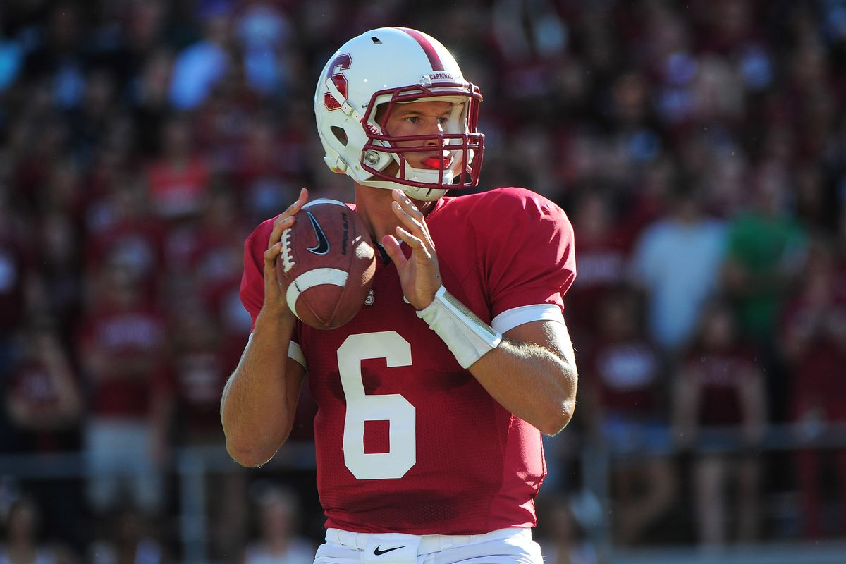 September 15, 2012; Stanford, CA, USA; Stanford Cardinal quarterback Josh Nunes (6) looks for a receiver during the first quarter against the Southern California Trojans at Stanford Stadium. Mandatory Credit: Kyle Terada-US PRESSWIRE