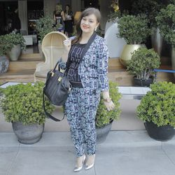 """Adiel Cloud Nuesmeyer of <a href=""""http://www.itsbecauseithinktoomuch.com""""target=_blank"""">It's Because I Think Too Much</a> and her too-good printed floral suit."""