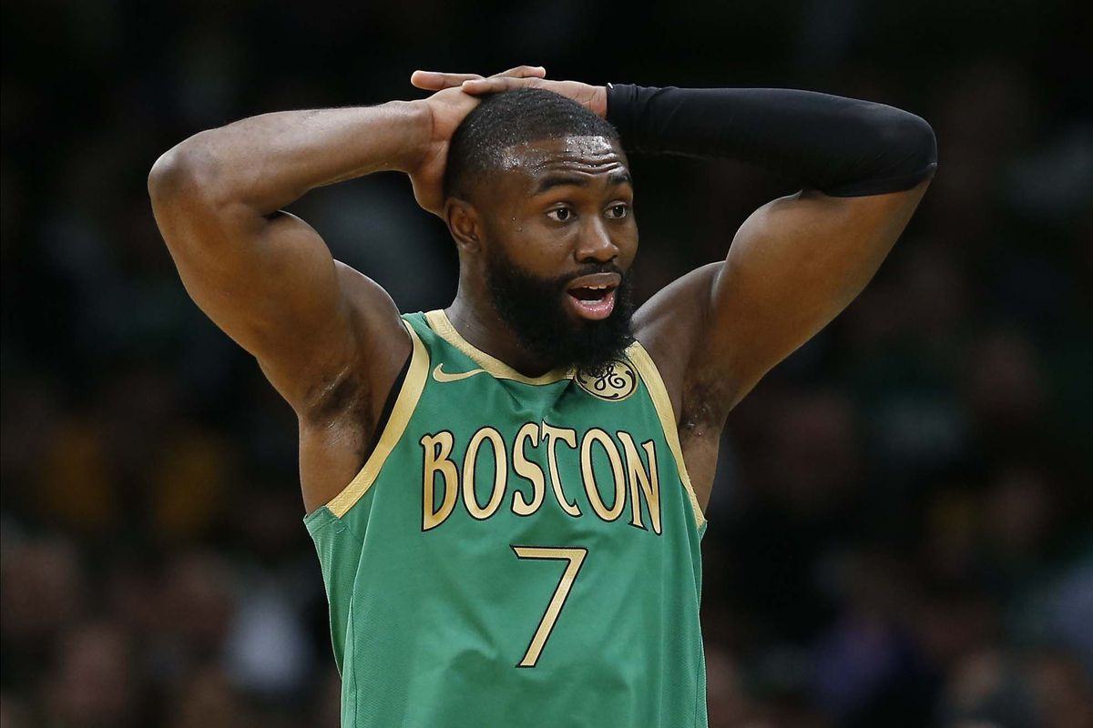 Boston Celtics guard Jaylen Brown reacts after getting called for a fifth foul during the second half against the Golden State Warriors at TD Garden.