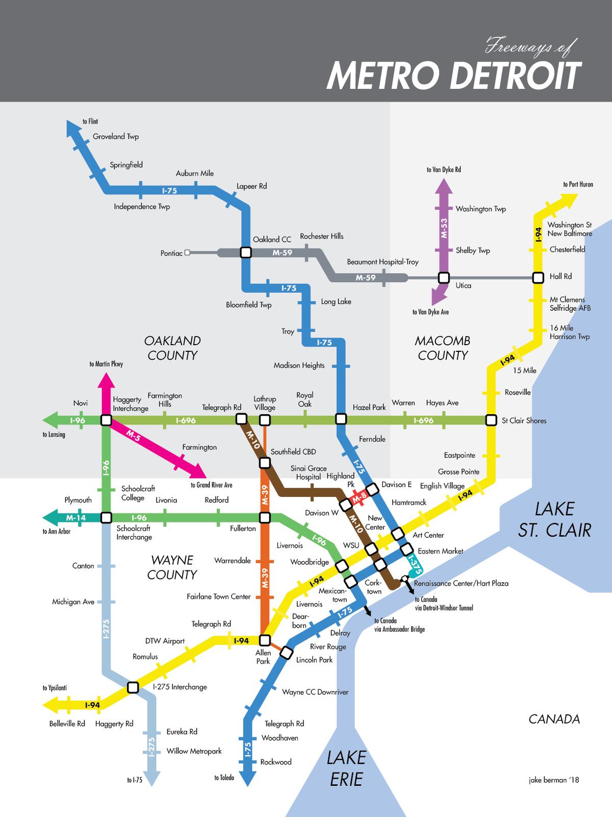 Subway Map Metro.This Map Reimagines Metro Detroit S Freeways As Subway Lines