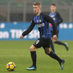 Emmers Xian Ghislaine of FC Internazionale in action during the Primavera SuperCup match between FC Internazionale U19 and AS Roma U19 at Stadio Giuseppe Meazza on January 7, 2018 in Milan, Italy.