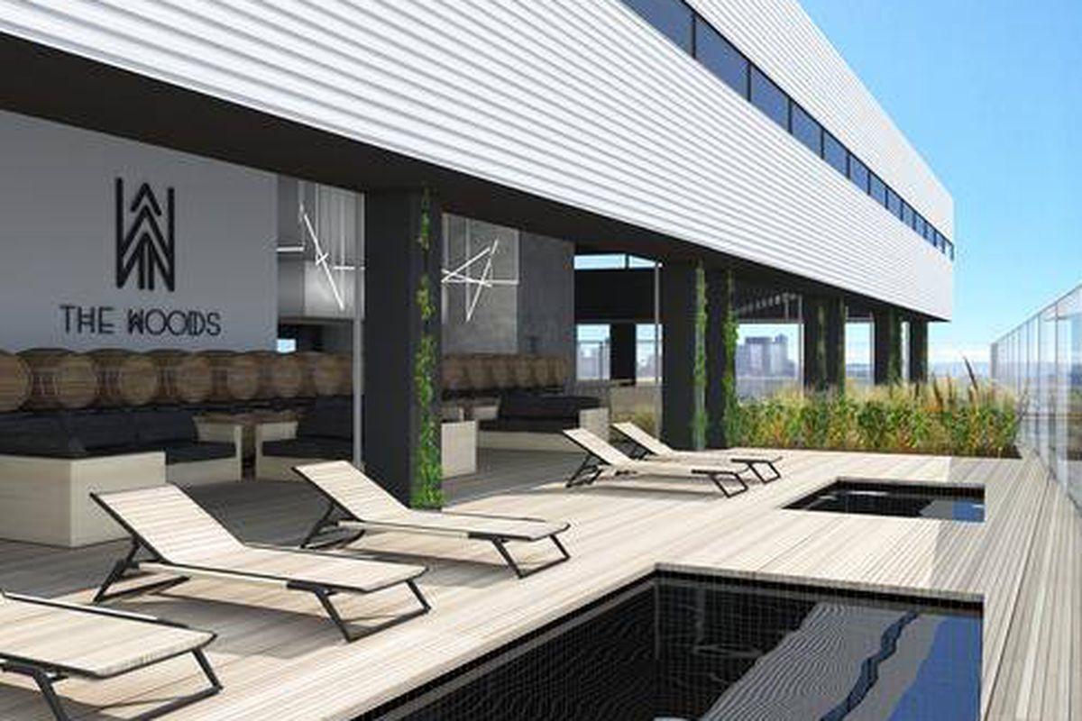 Rendering of the 8th floor New Belgium lounge