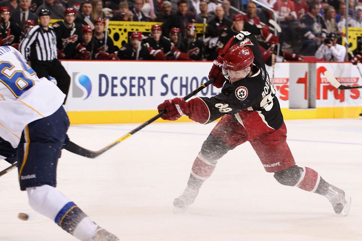 GLENDALE, AZ - MARCH 22:  Mikkel Boedker #89 of the Phoenix Coyotes shoots the puck against the St. Louis Blues during the NHL game at Jobing.com Arena on March 22, 2011 in Glendale, Arizona.  (Photo by Christian Petersen/Getty Images)