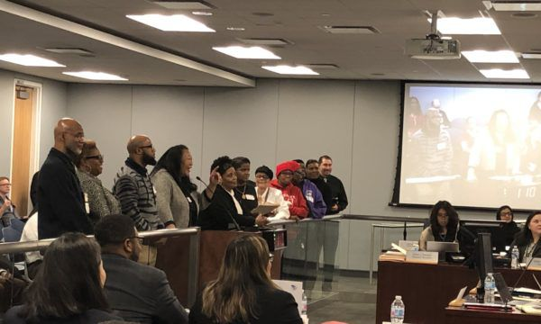 A throng of South Side community members and leaders spoke in support of Janice Jackson at the Feb. 27 school board meeting.