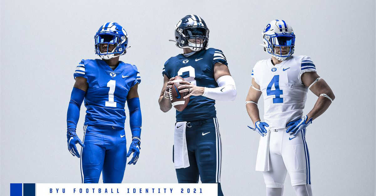 BYU football reintroduces royal, navy blue football helmets - Deseret News