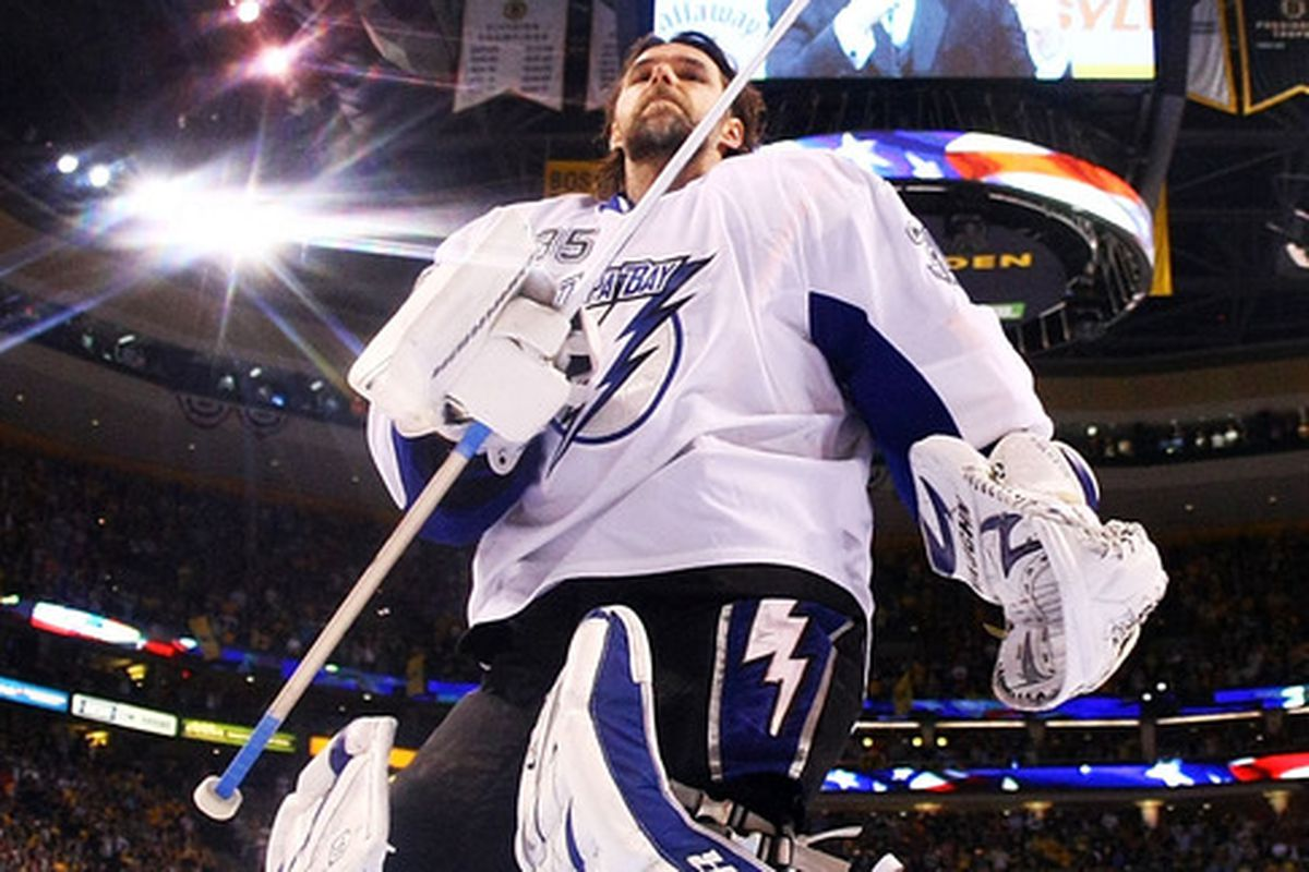 Dwayne Roloson will be back for the Lightning, but he'll be facing some very different opponents from last season. (Photo by Elsa/Getty Images)