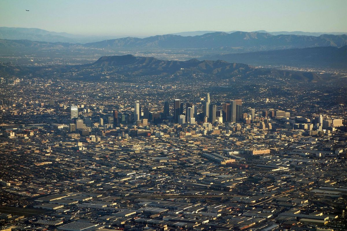 An aerial shot of Los Angeles