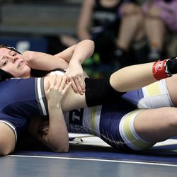 Jamie Barton of Westlake and Sabrina Jensen of Syracuse wrestle in class 108 as girls compete for the 6A State Wrestling championship at West Lake High in Saratoga Springs on Monday, Feb. 15, 2021.