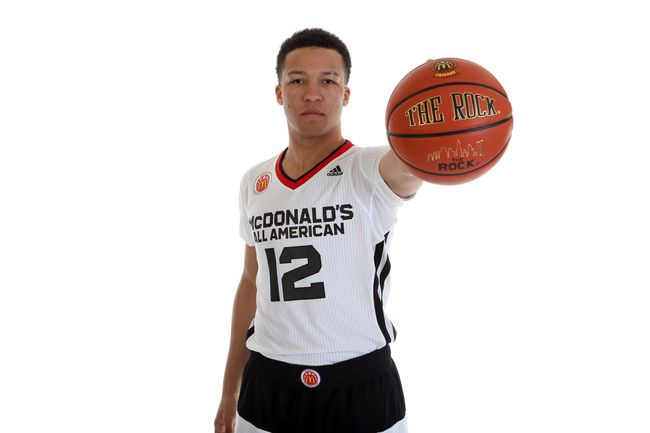 Jalen Brunson posing prior to the McDonald's All-American Game in April