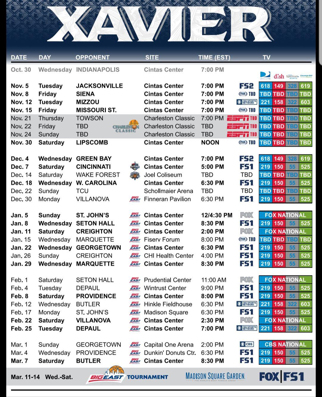 Xavier releases 2019-20 men's basketball schedule - Banners