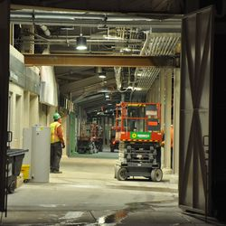 View of the third base line concourse at Gate K -