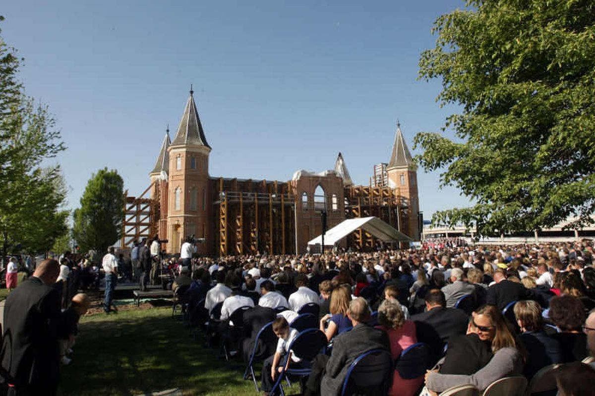 Thousands attend the groundbreaking for The Church of Jesus Christ of Latter Day Saints Provo City Center Temple in Provo  Saturday, May 12, 2012.