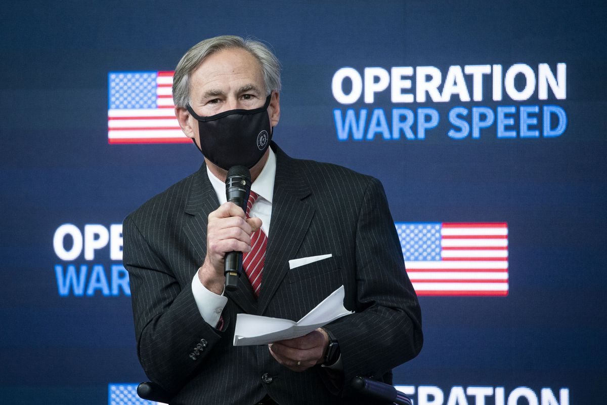 Texas Gov. Greg Abbott at a White House vaccine event in December 2020