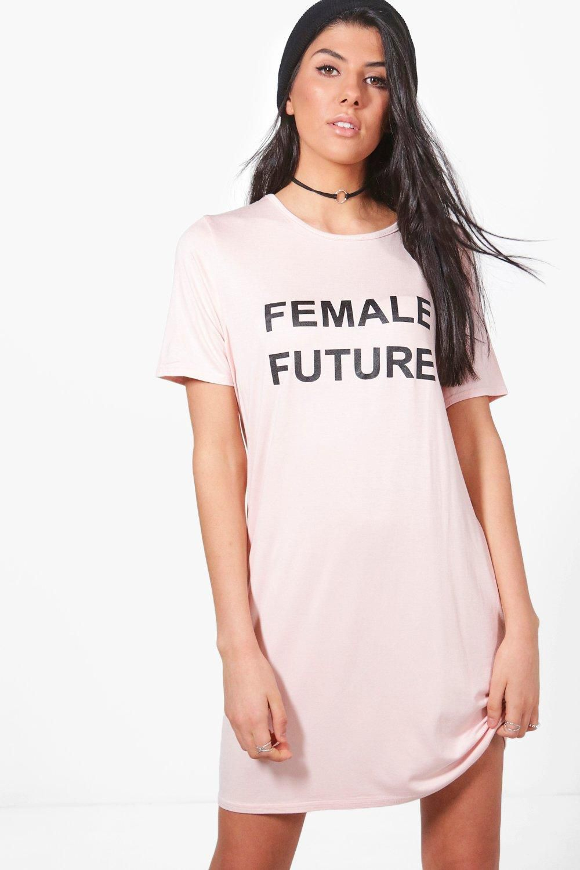 "A woman wearing a shirtdress that reads ""Female Future"""