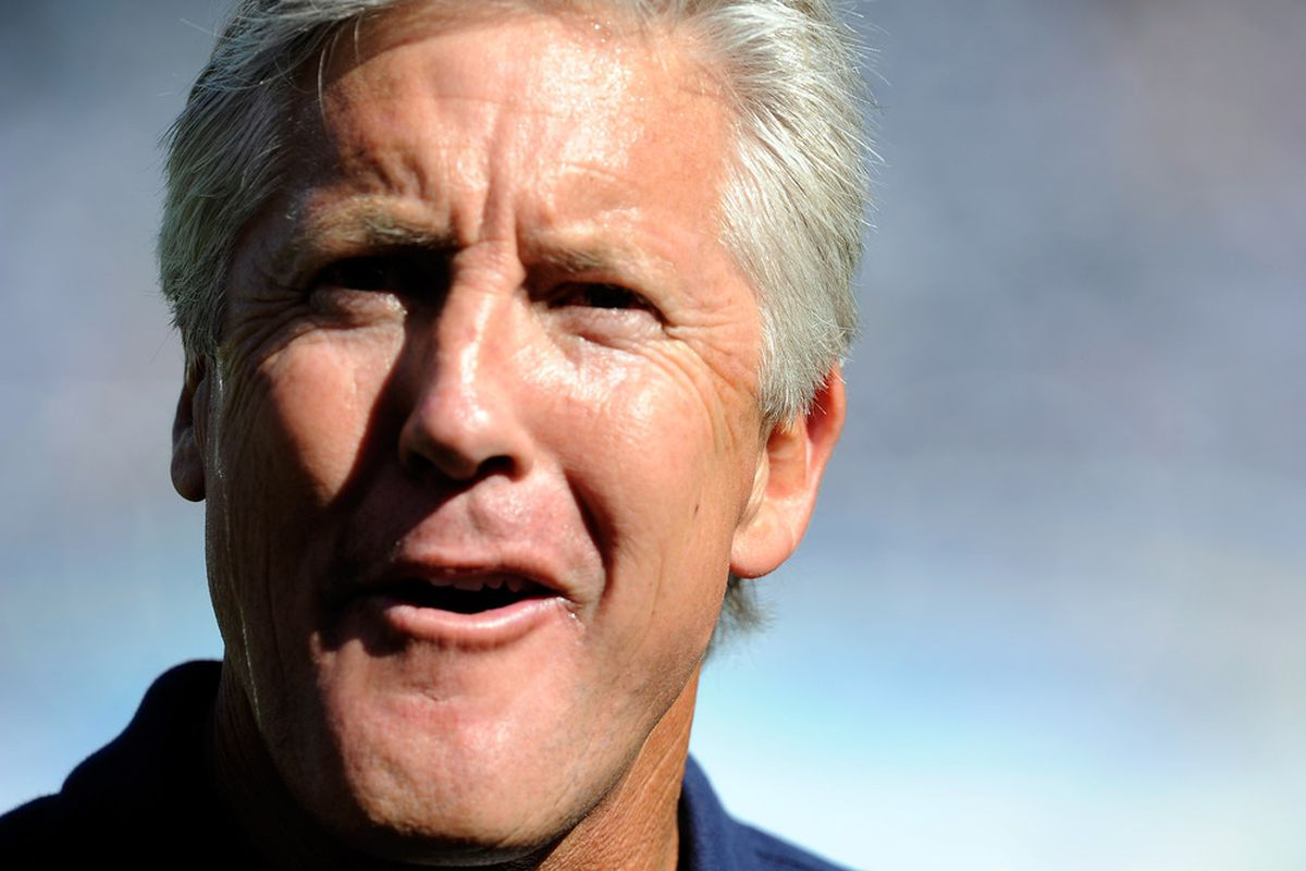 SAN DIEGO, CA - Head coach Pete Carroll of the Seattle Seahawks looks on before the NFL preseason game at Qualcomm Stadium against the San Diego Chargers in San Diego, California.  (Photo by Kevork Djansezian/Getty Images)