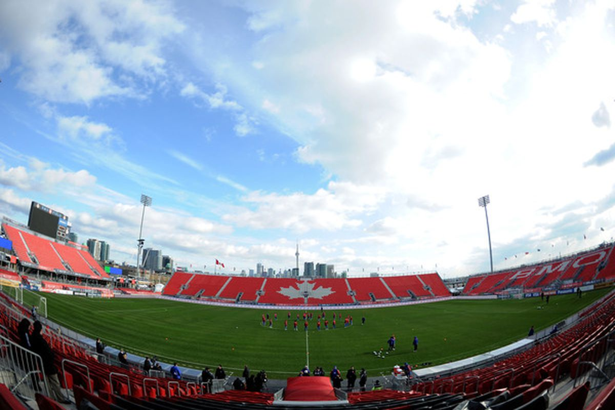 TORONTO - NOVEMBER 20:  General view of FC Dallas as they train in preparation for the MLS Cup against the Colorado Rapids at BMO Field on November 20 2010 in Toronto Canada.  (Photo by Harry How/Getty Images)