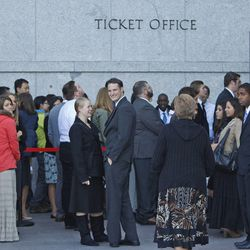 Waiting for tickets during the opening session of the 183rd Semiannual  General Conference of the Church of Jesus Christ of Latter-day Saints Saturday, Oct. 5, 2013, in Salt Lake City.