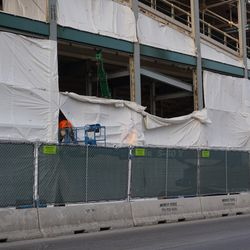 Work taking place along the Addison Street side