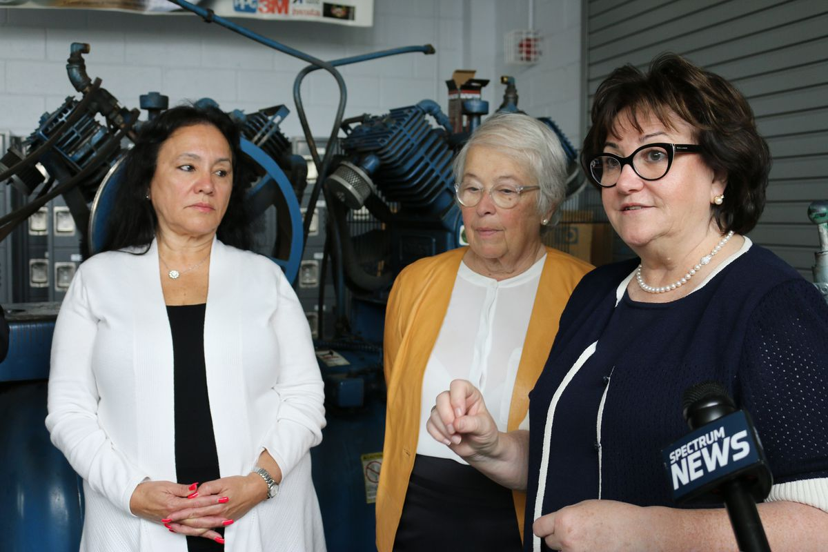 Board of Regents Chancellor Betty Rosa, New York City Schools Chancellor Carmen Fariña and State Education Commissioner MaryEllen Elia at Thomas A. Edison Career and Technical Education High School.
