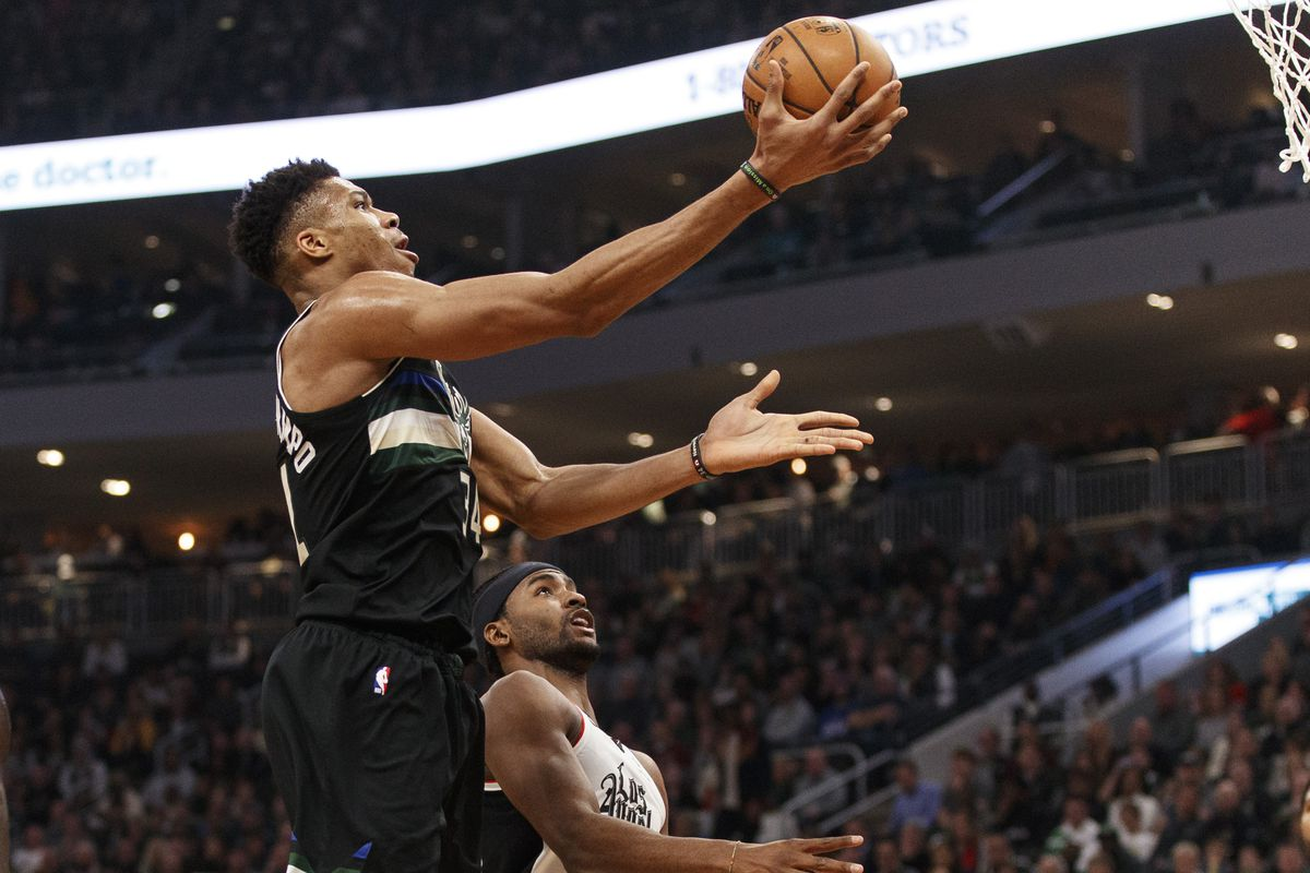 Milwaukee Bucks forward Giannis Antetokounmpo shoots during the second quarter against the Los Angeles Clippers at Fiserv Forum.