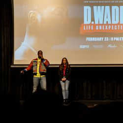 Dwyane Wade met Evanston native, Cassidy Hubbarth on stage at Richards High School to discuss his feature documentary.