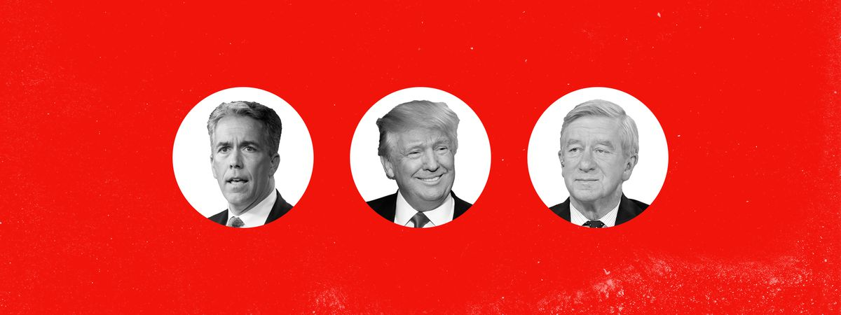 An arrangement of the republicans still running for president on a red background.