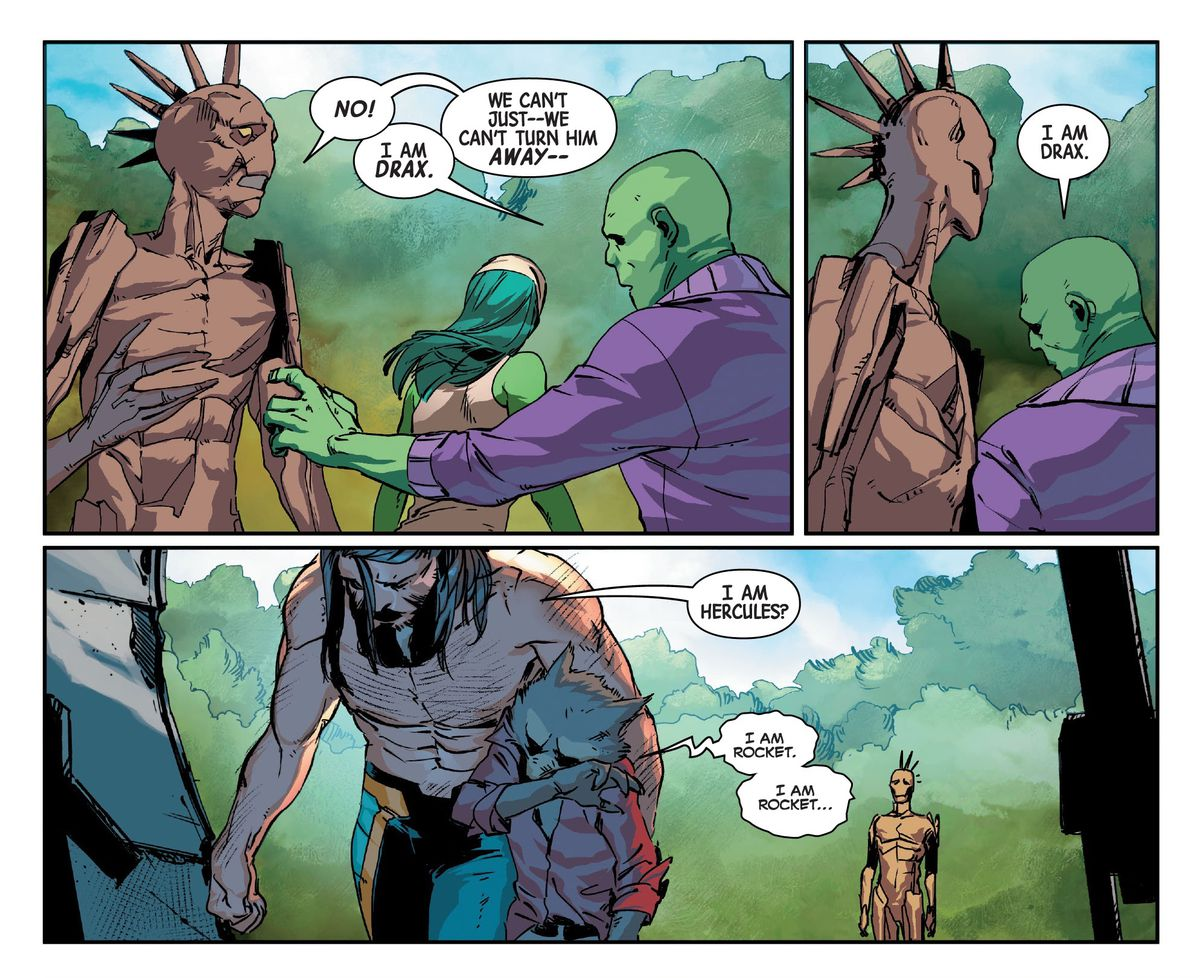"""""""No!,"""" says Groot, as Drax restrains him, """"We can't just — we can't turn him away."""" """"I am Drax,"""" says Drax. Hercules and Rocket Raccoon walk away sadly. """"I am Hercules?"""" says Hercules. """"I am Rocket. I am Rocket..."""" says Rocket, in Guardians of the Galaxy #3, Marvel Comics (2020)."""