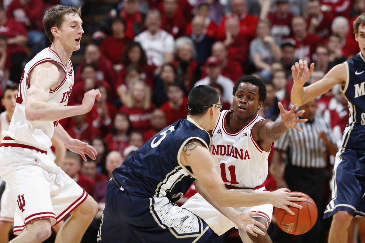 Yogi Ferrell, shown playing defense, and the Indiana Hoosiers face Florida Atlantic at 7 p.m. Friday.