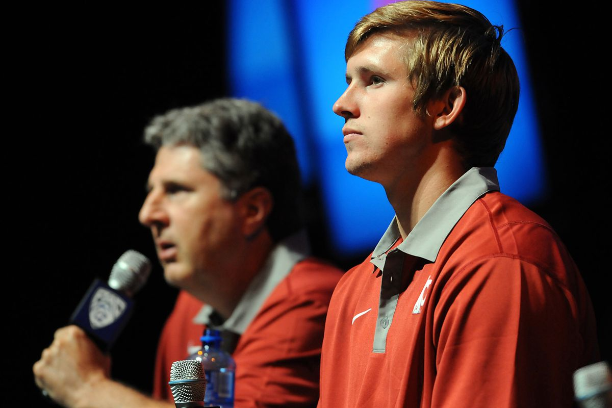 July 24, 2012; Los Angeles, CA, USA;     Washington State Cougars head coach Mike Leach (left) and quarterback Jeff Tuel answer media questions during PAC-12 Media Day at Universal Studios Hollywood. Mandatory Credit: Jayne Kamin-Oncea-US PRESSWIRE