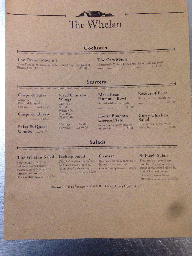 The Whelan menu 2