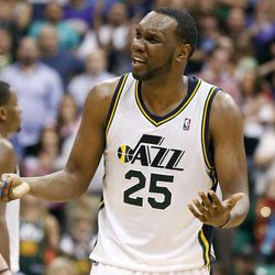 Utah Jazz center Al Jefferson (25) reacts to a call during the second half of an NBA basketball game against the Phoenix Suns, Wednesday, April 4, 2012, in Salt Lake City. The Suns won 107-105.