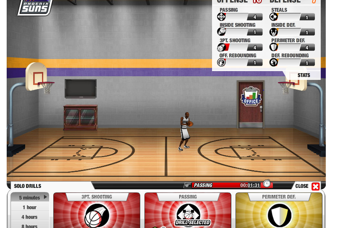 A look at my avatar's court as he gets ready to drill from Facebook game, NBA Legend.
