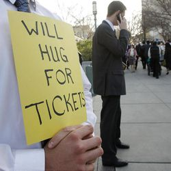 A hopeful attendee looks for tickets to the Conference Center prior to the 182nd Annual General Conference for The Church of Jesus Christ of Latter-day Saints in Salt Lake City  Saturday, March 31, 2012.