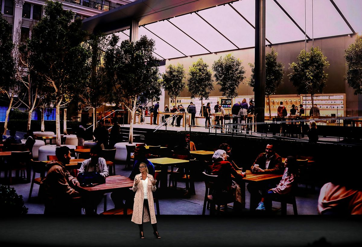 Apple Senior Vice President of Retail Angela Ahrendts onstage at the Apple event