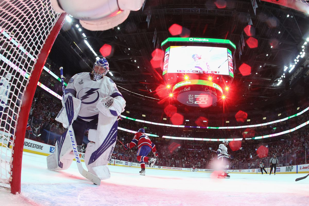 Andrei Vasilevskiy #88 of the Tampa Bay Lightning gives up a goal to the Montreal Canadiens during Game Four of the 2021 NHL Stanley Cup Final at the Bell Centre on July 05, 2021 in Montreal, Quebec, Canada.