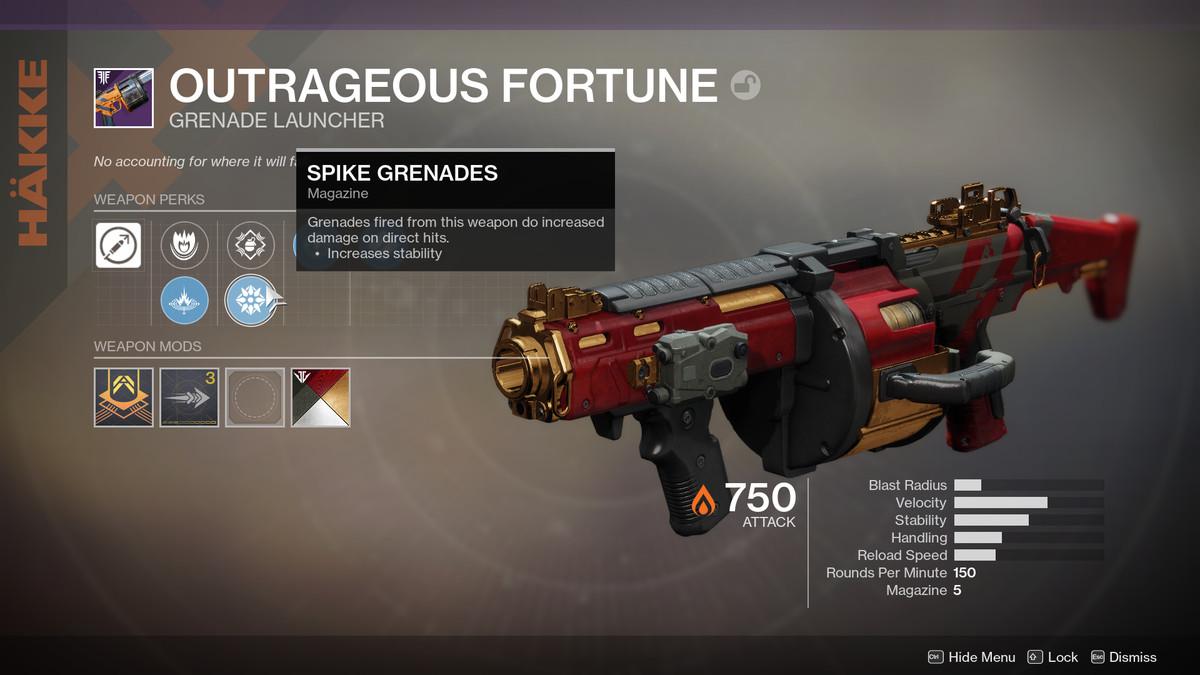 Destiny 2 Outrageous Fortune