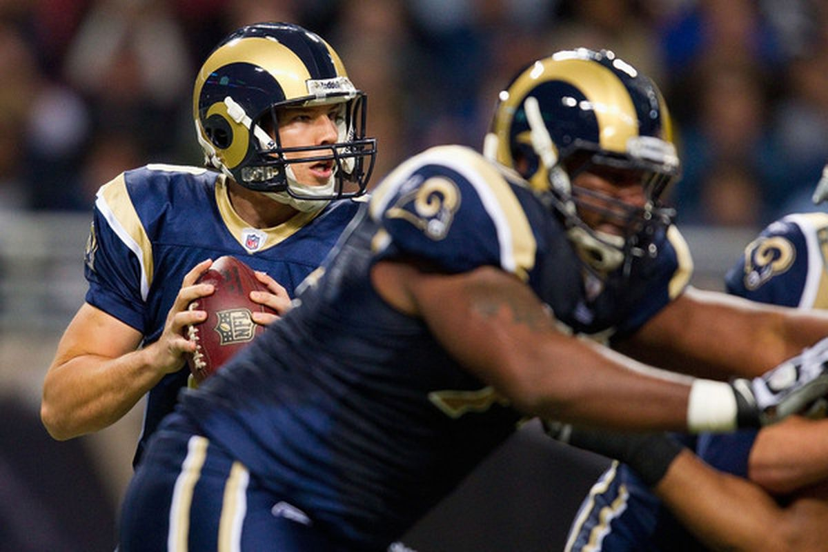 Sam Bradford #8 of the St. Louis Rams put to rest any talk about a rookie wall with a fine outing against San Francisco this week.