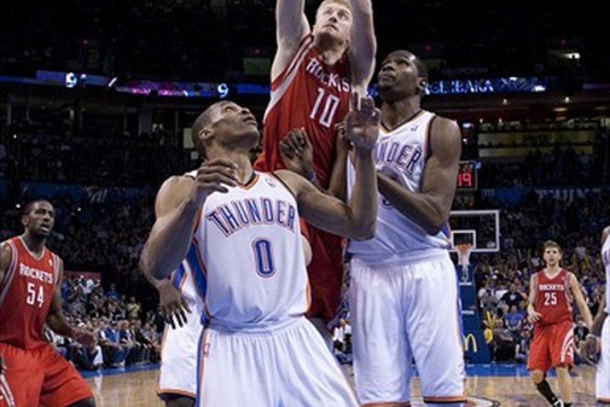 <strong>Wanna know what's funny? This is the only photo from the Rockets-Thunder game that even remotely shows a Rockets player doing something useful. Um, the Rockets won the game, photographers. Maybe get a good shot of one of them please?</strong>
